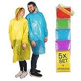 Cedelli Einweg & Mehrweg Regenponcho mit Kapuze | inkl. Festival-Armband | Premium 5er Pack einmal Regencape Regenmantel Regenjacke durchsichtig-transparent für Dich und Deine Familie!