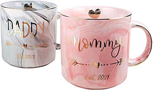 Marmor-Keramik-Tasse, Gold und Rosa,...