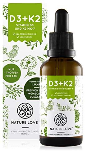 NATURE LOVE® Vitamin D3 + K2 (50ml...