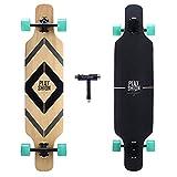 PLAYSHION Longboard 39 Zoll, mit ABEC-9 Kugellagern, Drop-Through Freeride Skateboards Cruiser