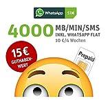 WhatsApp SIM Prepaid [SIM, Micro-SIM, Nano-SIM] - Starterpaket mit 15 EUR Guthabenwert, ohne Vertragsbindung, Option mit 4000 Einheiten (MB/MIN/SMS), Surf-Geschwindigkeit: 21,6 MBit/s LTE