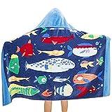 100% Baumwolle Kinder Jungen Mädchen Kapuzenponchos Schwimmen Bad Handtuch Badetuch Bademäntel (Fisch)
