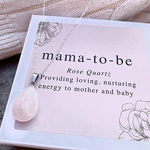 Rosa Mama-to-be Halskette mit Rosenquarz...