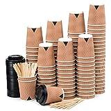 110 Kraft Gewellt Pappbecher Coffee to Go 240 ml 8 oz mit Deckel und Holz Rührstäbchen Zum Servieren von Kaffee, Tee, Heißen und Kalten Getränken