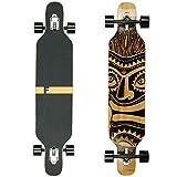 FunTomia Longboard Skateboard Drop Through Cruiser Komplettboard mit Mach1 High Speed Kugellager T-Tool mit und ohne LED Rollen Flex 1 Bambus Ahorn