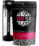 WOW TEA Abnehmen Tee Set: Detox 21 Tage Tee | Fettverbrennende Kräuter | Bester Entgiftung- und Gewichtsmanagement-Grüner-Kräutertee + Infuser Teeflasche | 150g, Made in EU