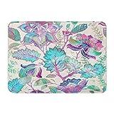 Badematte Flanellstoff Weiches, saugfähiges Material Grüne Blume Frühling Blumen Provence Tropisch Schöne, gemütliche, dekorative, rutschfeste Badezimmerdecke