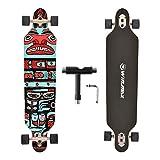 WIN.MAX Longboard Skateboard, 7-lagigem Ahornholz Cruiser komplettes Board, mit ABEC-11 Kugellagern und T-Tool (Haida)