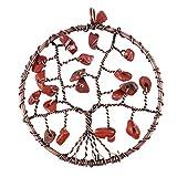 BESPORTBLE Baum Des Lebens Anhänger 2 Zoll Redstone Edelstein Chakra Kristall Stein Anhänger für Halskette Ohrring Schmuckherstellung - Handgemachte Kupfer Halskette für Frauen Täglichen