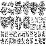 Yazhiji 40 Blatt große sexy Blumen Sammlung wasserdichte temporäre Tattoos dauerhafte gefälschte Tätowierung für Frauen und Mädchen.