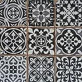 Casa Moro Mediterrane Patchwork Keramikfliesen Rahel Schwarz 33 x 33 cm 1 qm   Vintage Bodenfliesen Retro Fliese als Wanddekoration im Bad & Küchenrückwand   Schöne Küche Flur & Badezimmer   FL2111