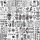 LAROI 66 Blätter Klein Schwarz Temporäre Tattoos Frauen Männer Fake Tattoo Aufkleber Gesicht Hals Arm Kinder Tattoo Temporär Blume Stern Tattoo Kits Jungen Mädchen Tattoos Zum Aufkleben Auf Die Haut