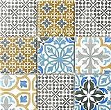 Retro Vintage Mosaik Fliese Keramik creme blau orange grau matt für BAD WC DUSCHE KÜCHE FLIESENSPIEGEL THEKENVERKLEIDUNG BADEWANNENVERKLEIDUNG WB22B-1406